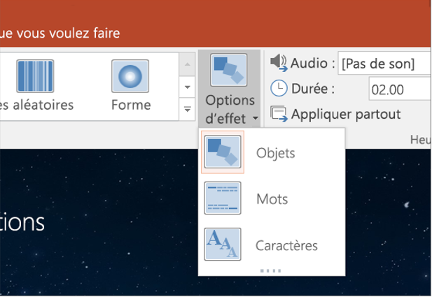 Options d'effet de transition pour la transition Morph dans PowerPoint 2016